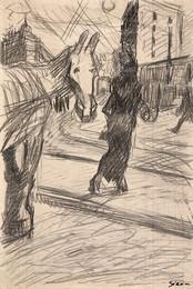 Paesaggio urbano con cavallo