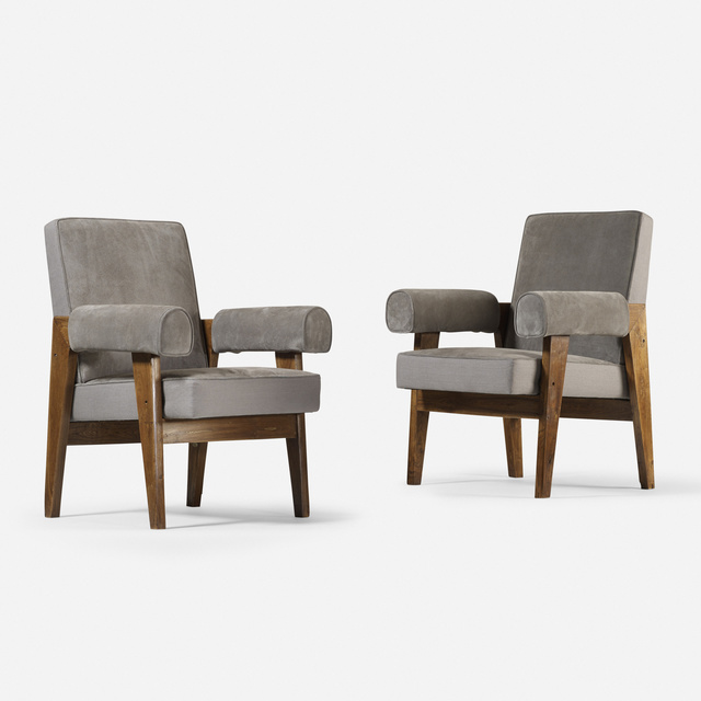 Le Corbusier, 'Bridge armchairs from the High Court, Chandigarh, pair', c. 1955, Wright