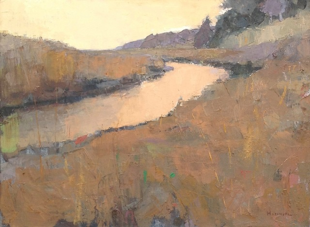", '""Sienna Estuary"" Painterly Landscape in Browns, Ochre Yellows and Muted Purple,' 2010-2018, Eisenhauer Gallery"