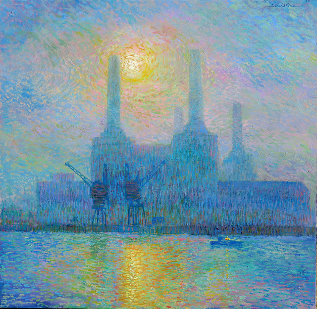 Juan del Pozo, 'Misty Battersea Sun', 2020, Painting, Oil on canvas, Eclectic Gallery