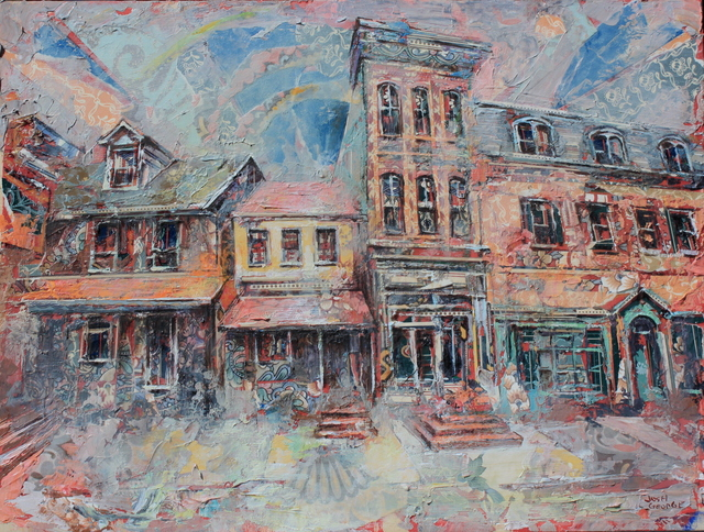 Josh George, 'State Street', 2021, Painting, Mixed media on wood panel, Abend Gallery