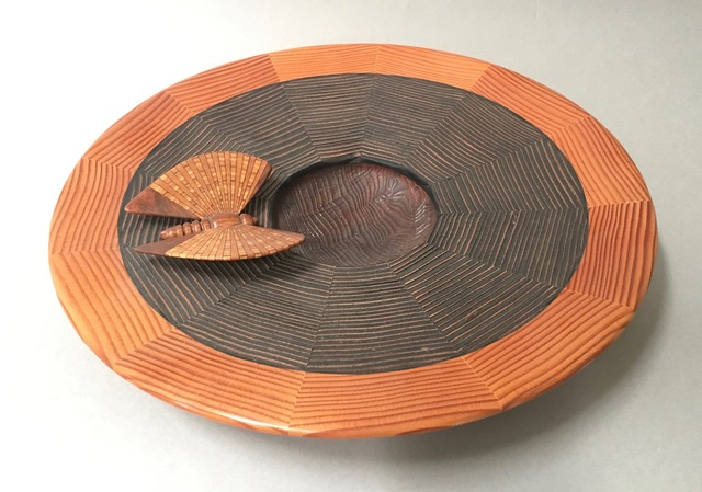 Albert Clarke, 'Untitled Platter with Segmented Wood Butterfly', ca. 2000, Beatrice Wood Center for the Arts