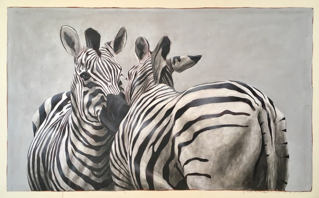 """, '""""Andante #101"""" oil painting of black and white zebras embracing,' 2018, Eisenhauer Gallery"""