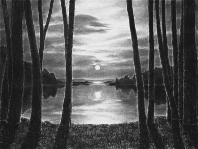 , 'Moonrise from the shore,' 2017, MM Fine Art