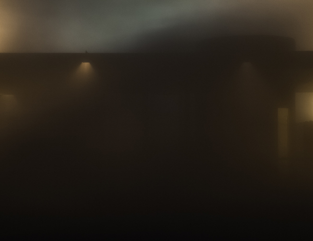 Richard Barnes, 'Night View Detail Obstructed by Fog, Glass House', 2014, Photography, Archival inkjet print mounted to archival substrate, framed in black with UltraVue70, Bau-Xi Gallery