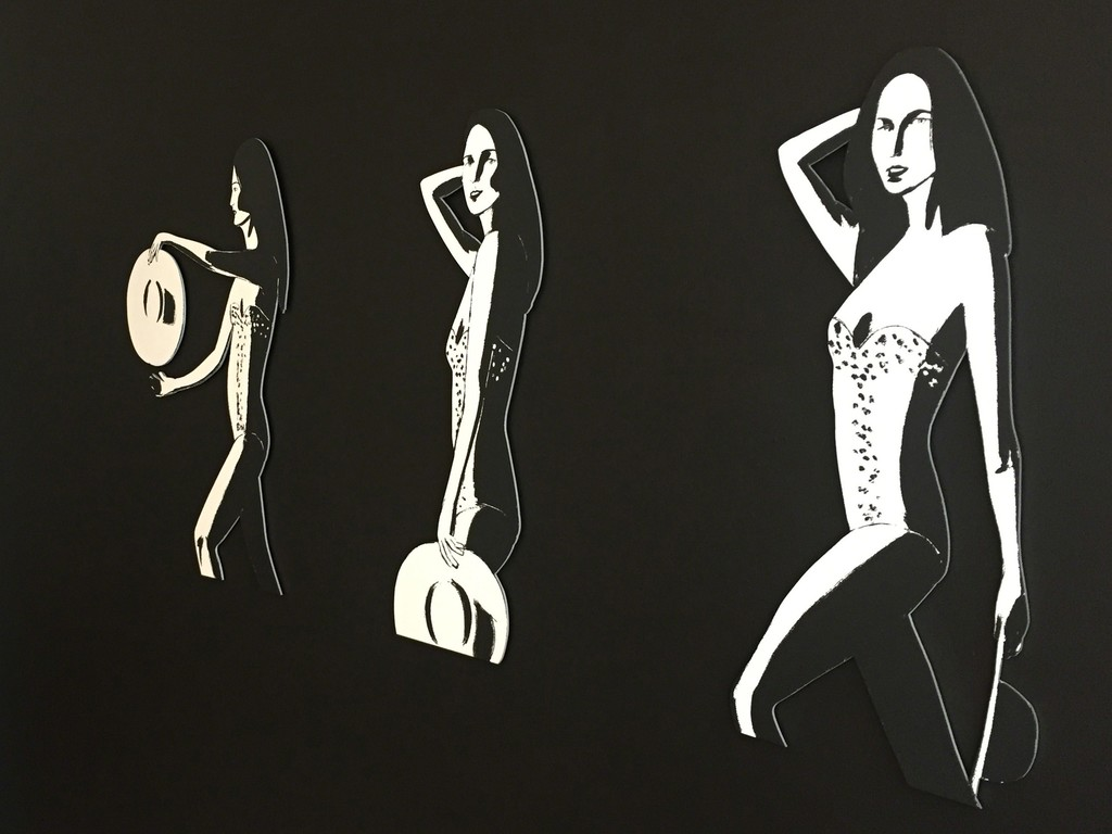 Ariel (Cutout) installation on black wall at Meyerovich Gallery, San Francisco