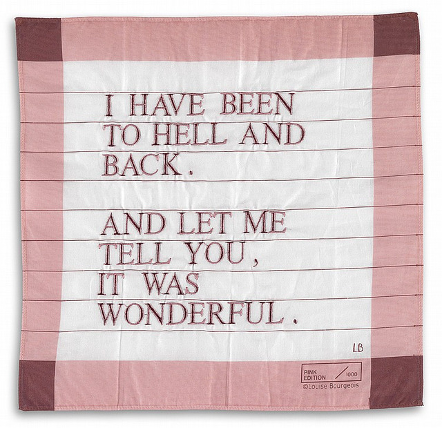 , 'I Have Been to Hell and Back Handkerchief (pink/purple),' 1996, Artsnap