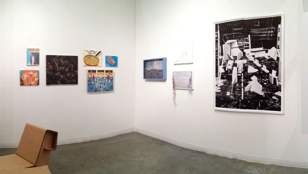 Ralph Pugay, Ben Buswell, and Rodrigo Valenzuela works on display during the Seattle Art Fair.