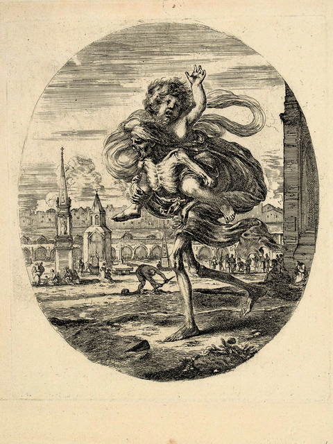 Stefano Della Bella, 'Death carrying a child on his back', ca. 1648, Daniela Laube Fine Art