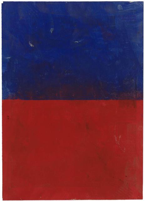 , 'Rot und Blau, quergeteilt, auf Zeitung,' 1971, Galerie Doebele