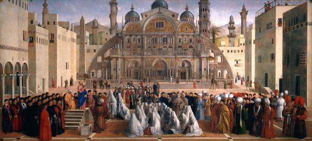 Gentile Bellini, 'St. Mark Preaching in St. Euphemia's Square in Alexandria, Egypt', 1504-1507, Painting, Oil on canvas, Pinacoteca di Brera