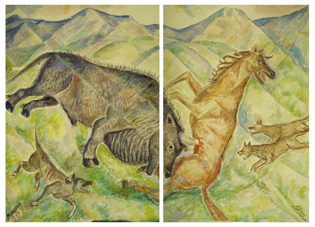 Marie Vorobieff Marevna, 'Horse being impaled by a boar's tusk, diptych', Roseberys