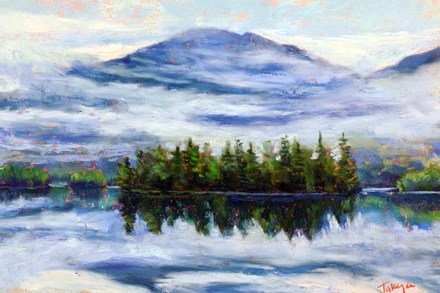 , 'Day 21: Lifting Fog on Elk Lake,' February 2020, Keene Arts
