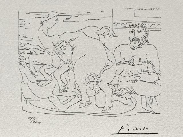 Pablo Picasso, 'Le repos du sculpteur devant des chevaux et un taureau (Suite Vollard Planche LVII)', 1973, ByNewArt