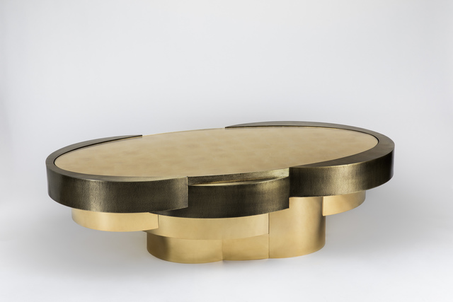 , 'Oval Cilindros Low Table in 24kt gold plated,' 2016 -2017, Garrido Gallery