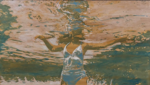"""Carol Bennett, '""""Pool Chill"""" abstract oil painting of a woman under water in white bathing suit', 2010-2017, Eisenhauer Gallery"""
