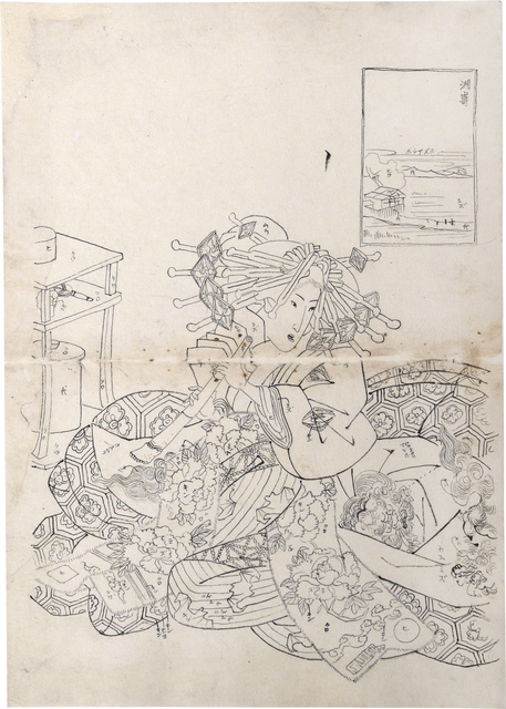 Teisai Sencho, 'Preparatory Drawing for print of Flourishing Scenes of the East: Susaki, Sugatano of the Sugata-Ebiya', ca. ca. 1830's, Drawing, Collage or other Work on Paper, Sumi ink on paper, Scholten Japanese Art