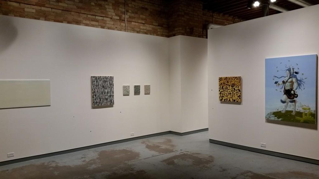 L to R: (Matthew Kluber, Marcus Cain (4 works), Karen Owsley Nease, Rabbett Strickland
