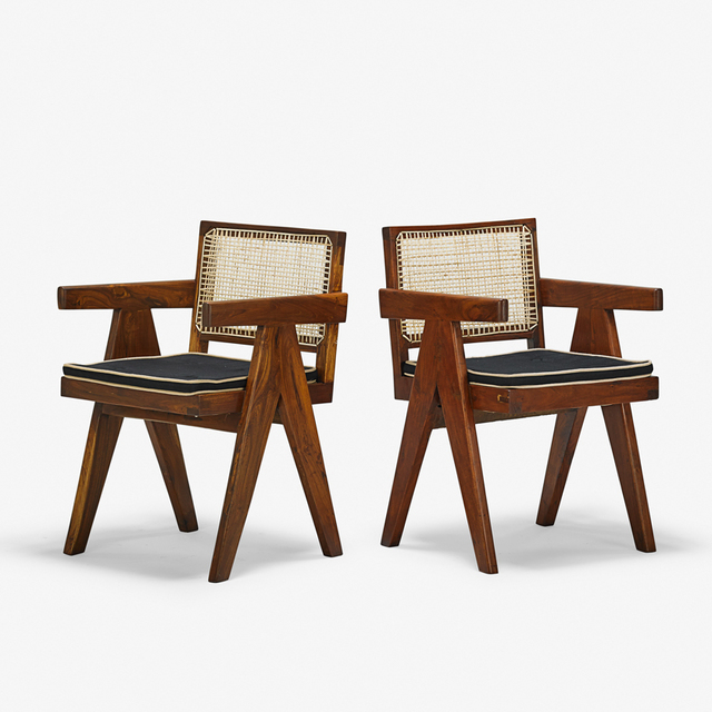 Pierre Jeanneret, 'Two V-Leg armchairs from the Chandigarh administrative buildings, France/India', 1950s, Design/Decorative Art, Teak, upholstery, cane, Rago/Wright