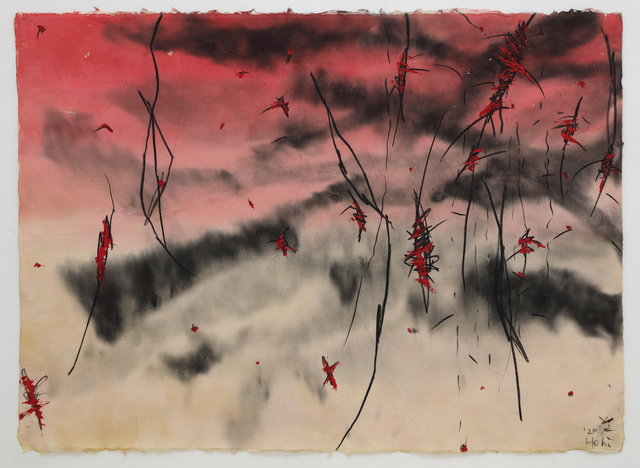 Hori Kosai, 'Touching so close and having an openness - Still not arrived anywhere', 2020, Drawing, Collage or other Work on Paper, Japanese ink, dermatograph, acrylic, Japanese paper, Mizuma Art Gallery
