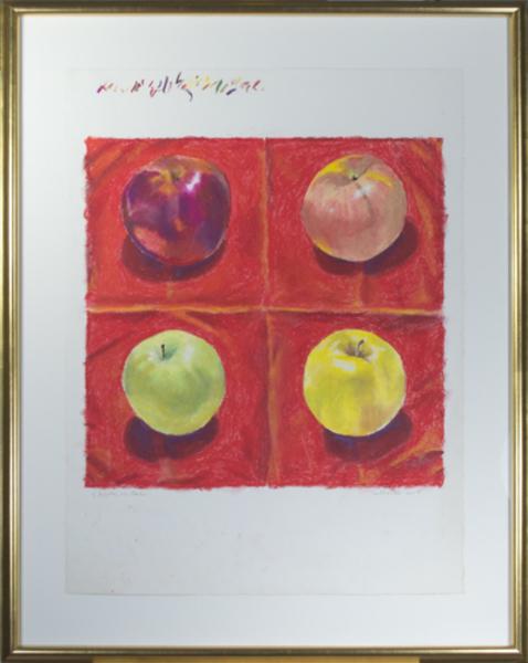 , '4 Apples on Red,' 2017, David Barnett Gallery