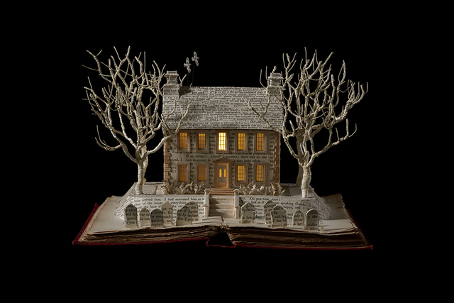 Su Blackwell, 'The Bronte Parsonage', 2017, Sculpture, Book cut sculpture in wooden box, with lights, Long & Ryle
