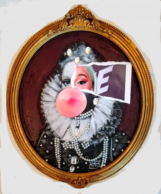 , 'Portrait of a young Elizabeth 1 Queen of England with Bubblegum and Pearl Necklace, Photobombed by Cardi B,' 2019, Contemporary Collective