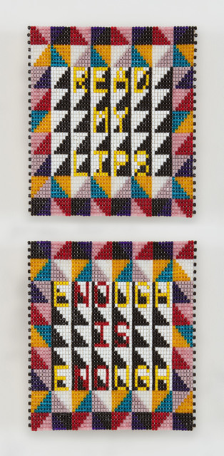 Jeffrey Gibson, 'NO IS NO', 2018, Mixed Media, Glass beads, artificial sinew, acrylic felt, over wood panel, Sikkema Jenkins & Co.