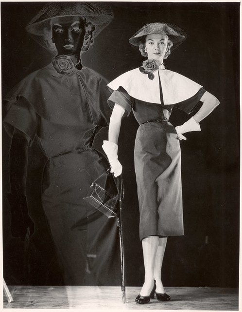 Gjon Mili, 'Positive and Negative Image of Model with Black Dress with Cape Collar, Veiled Straw Hat, Carrying Handbag and Umbrella', 1946, Contessa Gallery