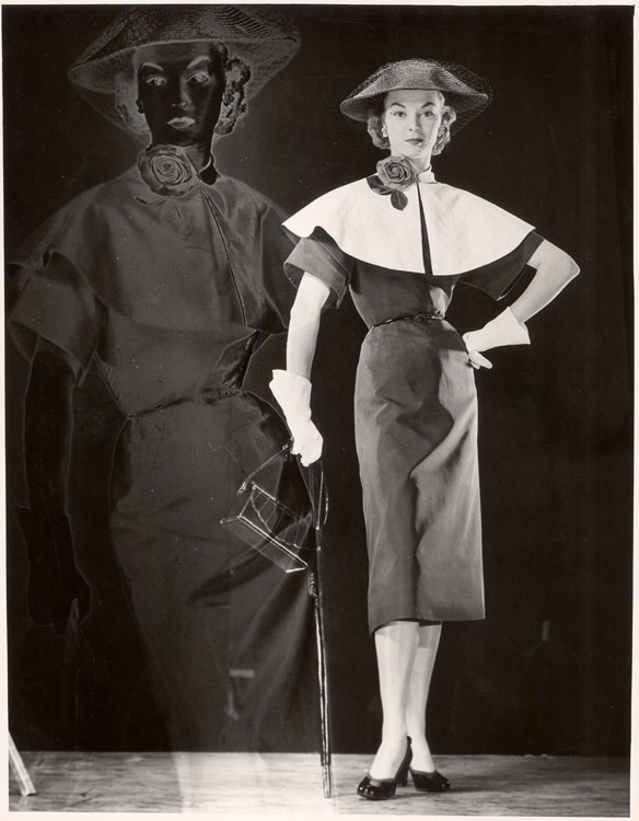Positive and Negative Image of Model with Black Dress with Cape Collar, Veiled Straw Hat, Carrying Handbag and Umbrella