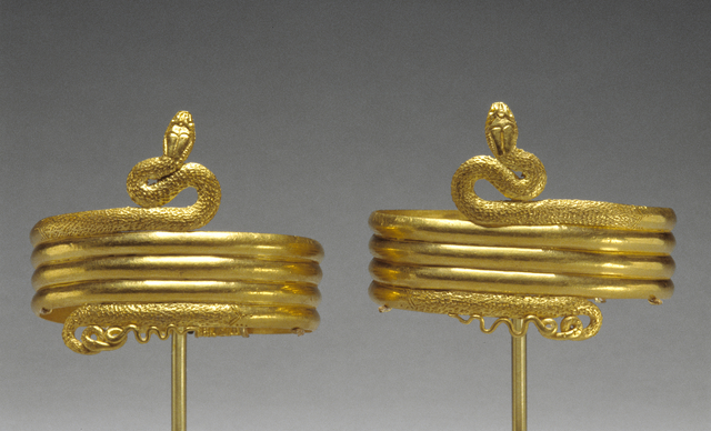 'Pair of upper arm bracelets in the form of a coiled snake', 220 -100 BCE, J. Paul Getty Museum