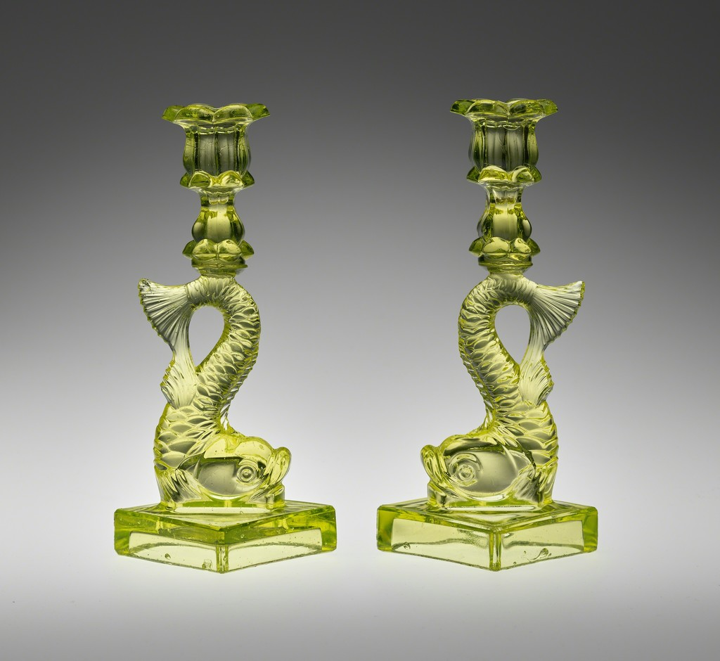 Boston and Sandwich Glass Works, Pair of Candlesticks, Sandwich, Mass., 1845–65. Pressed lead glass. Yale University Art Gallery, Mabel Brady Garvan Collection