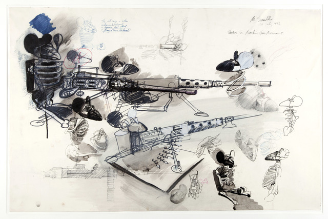 , 'Study for Mickey Mouse Machine Gun Monument,' ca. 1972, Flowers
