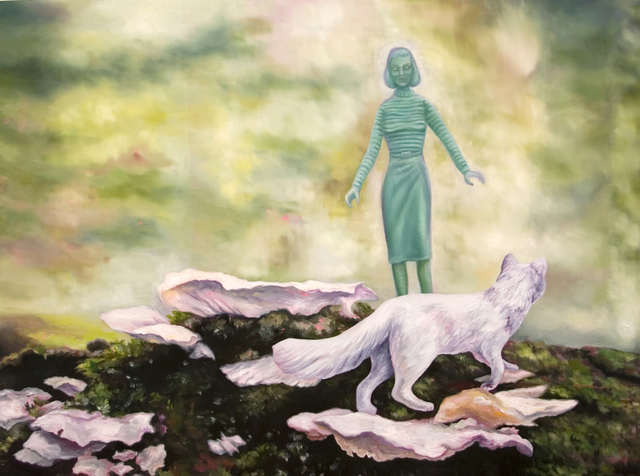 , 'Green Woman & Arctic Fox on Forest Floor,' 2017, James May Gallery