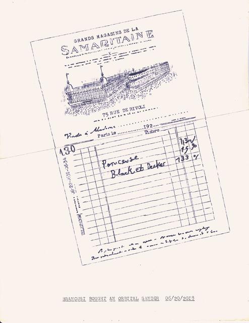 """, '""""Brancusi Owned an Orbital Sander"""" in the series """"Typewriter Drawings"""",' 2018, Catharine Clark Gallery"""