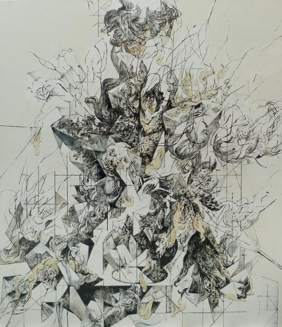 Zelin Seah, 'Flowers in a Vase Version C', 2014, Painting, Bitumen offset ink and oil on linen, Taksu