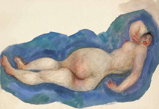 , 'Reclining Nude with Red Mouth,' ca. 1919, Galerie Bei Der Albertina Zetter