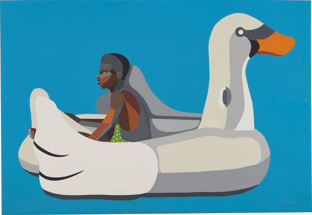 Derrick Adams, 'Boy on Swan Float', 2020, Print, Woodcut and screenprint with fabric and collage in colors, on wove paper, the full sheet., Phillips