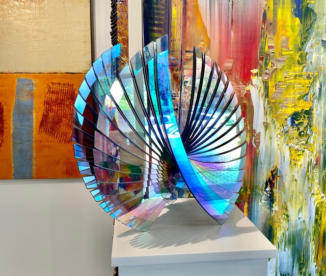 Tom Marosz, 'Wings (Grey Dichroic) ', 2010-2021, Sculpture, Float glass, cut, grounded, sandblasted, air brushed and laminated, Avran Fine Art
