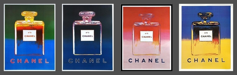Chanel No. 5  (Suite of Four (4) Separate  Limited Edition Works on thin linen canvas backing)