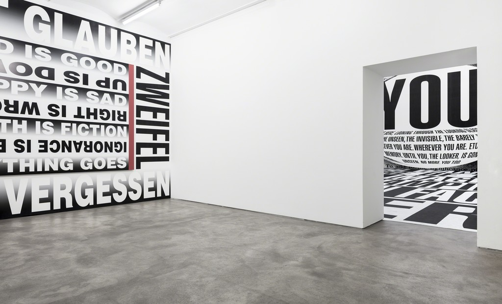 Installation view, Barbara Kruger, 'Forever', Sprüth Magers, Berlin, September 16 - December 22, 2017; Photography by Timo Ohler