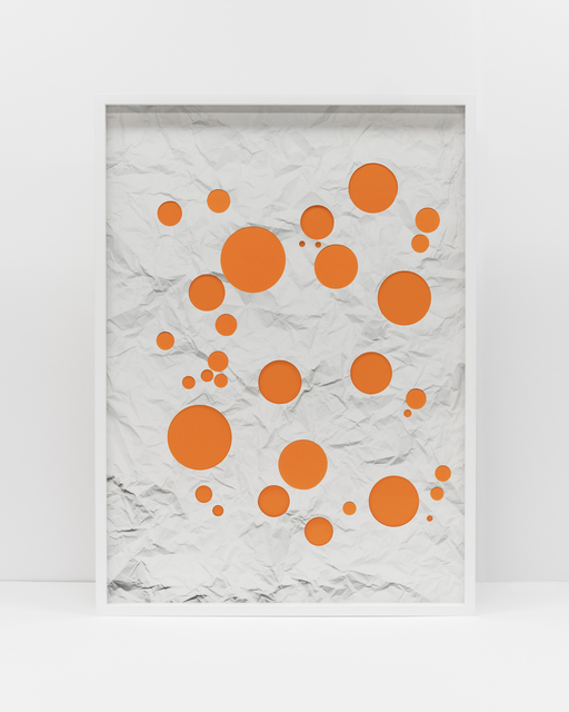 , 'Handmade: Crumpled paper cut circles (orange),' 2017, Rena Bransten Gallery