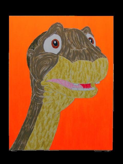 , 'Dinosaur Painting (orange),' 2015, Evelyn Yard