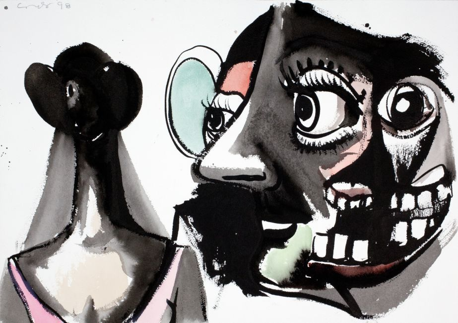 Louisiana on Paper. George Condo: The Way I Think. Drawings 1974-2015 09.11 2017 - 02.04 2018    George Condo Ballerina and Her Thoughts, 1998 Watercolour and ink on paper 36.2 × 50.8 cm  Private Collection, New York © George Condo Photo: George Condo Studio