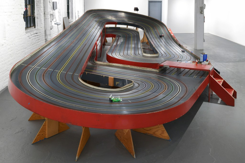 The Ogilvie slot car track installed in the exhibition space at PROTO Gallery for NO FLEX RACE U.
