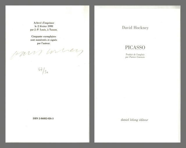 David Hockney, 'Picasso (Hand signed and numbered by Hockney)', 1999, Alpha 137: Collectible Artist Books