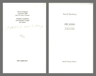 Picasso (Hand signed and numbered by Hockney)