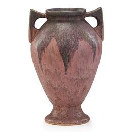 "15"" pink Carnelian II vase, Zanesville, OH"