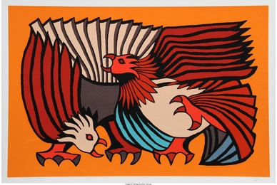 Victor Delfin, 'Orange Fighting Cocks,' 1979, Heritage Auctions: Valentine's Day Prints & Multiples