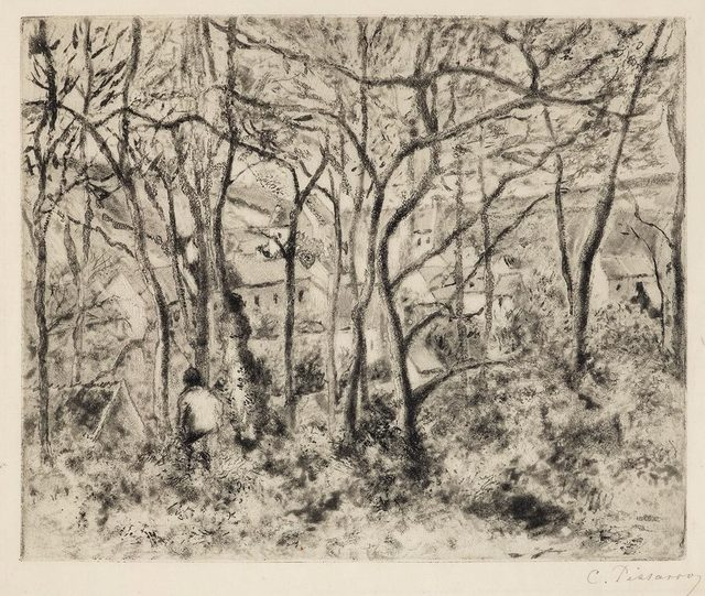 Camille Pissarro, 'Paysage sous bois, a l'Hermitage (Pontoise)', 1879, Print, Softground etching and aquatint with touches of drypoint on thin laid japanese paper., Catherine E. Burns Fine Prints